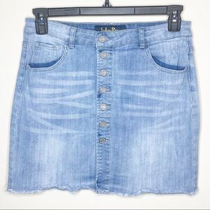 BLUE JEAN Denim Skirt Front Button Through